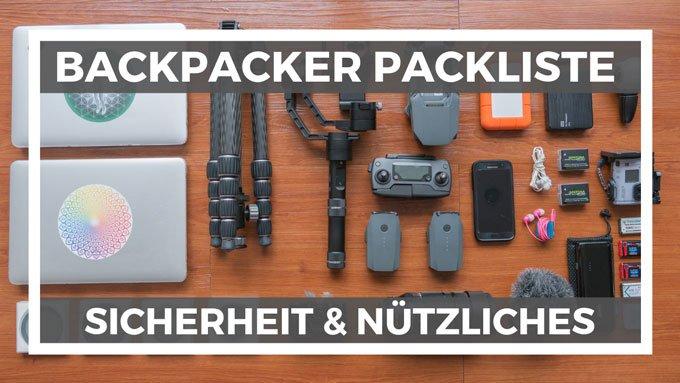 Sicherheit Nützliches Backpacker Packliste