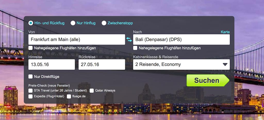 Flugsuche günstige Flüge nach Bali