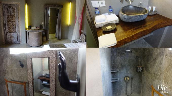 Badezimmer und Zimmer im Blue Karma Resort Seminyak