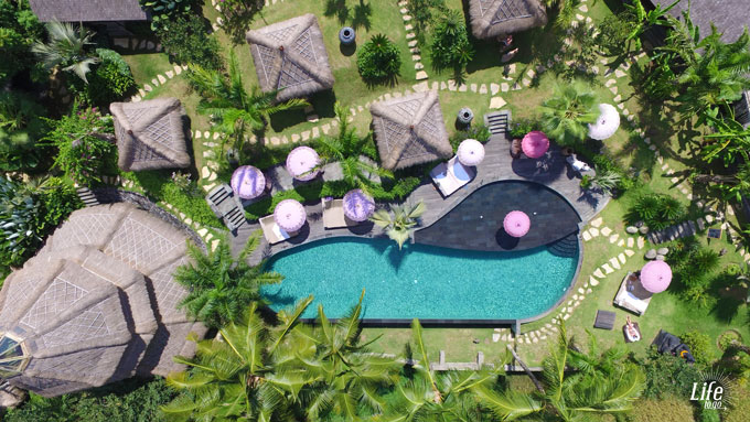 Blue Karma Resort Ubud Pool Anlage von oben mit der Drohne