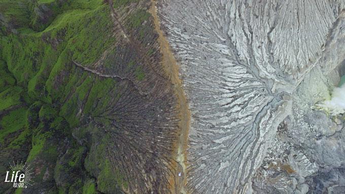 Krater Rand Mount Ijen mit Drohne aufgenommen