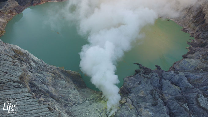 giftiges Schwefelgas Mount Ijen DJI Drohne