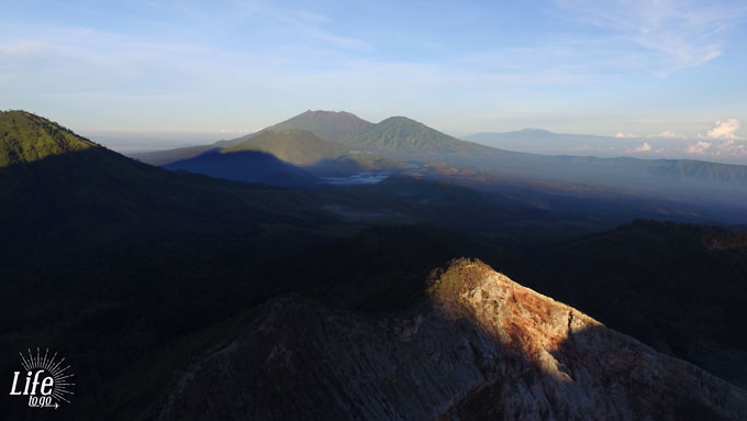 Drone View Sunrise on Mount Ijen Java