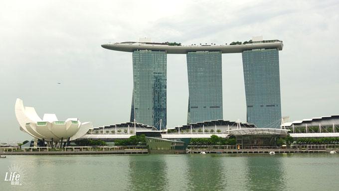 Sicht aus der Marina Bay auf das Marina Bay Sands Hotel