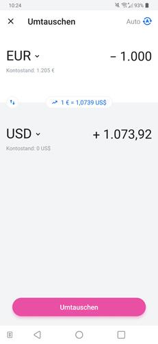 Revolut Kreditkarte Geld wechseln und tauschen in Fremdwährungen