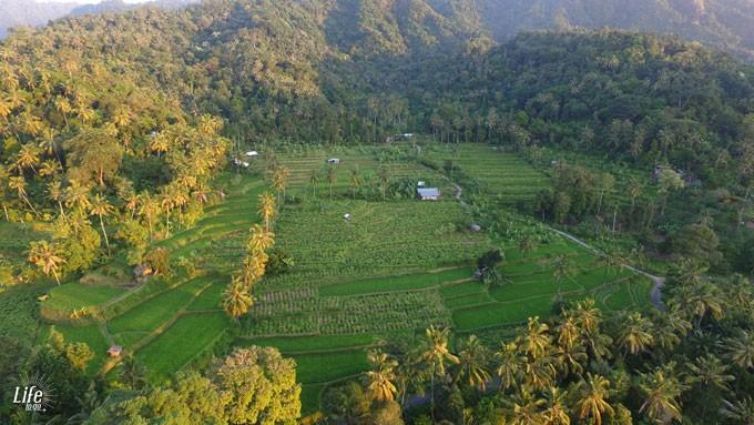 Gegend um Villa Manuk bei Sonnenuntergang