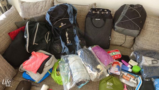 Weltreise Packliste Rucksaecke udn gemischtes