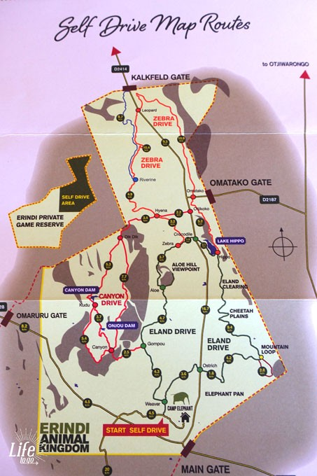 Erindi Game Reserve Selfdrive Route