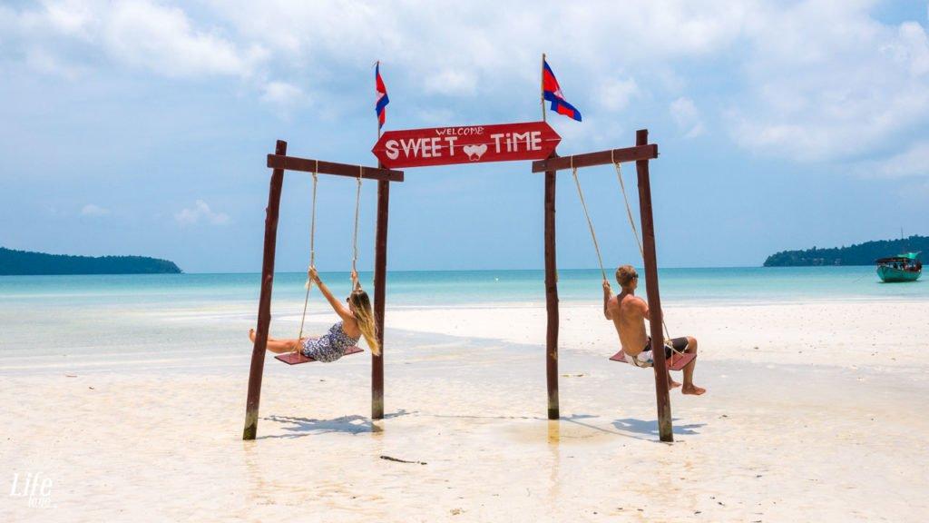 Saracen Bay Beach Schaukeln auf Koh Rong Samloem