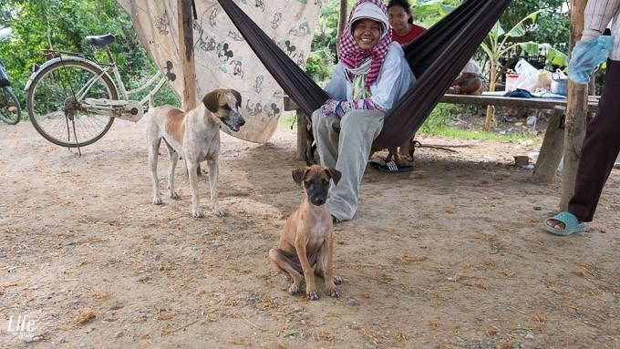 freundliche Menschen und Tiere in Battambang, Kambodscha
