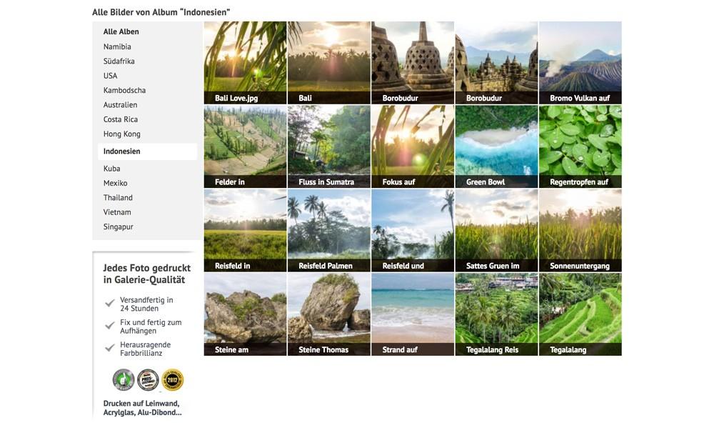 Indonesien Fotos auf Leinwand und Acrylglas im Weltreise Shop
