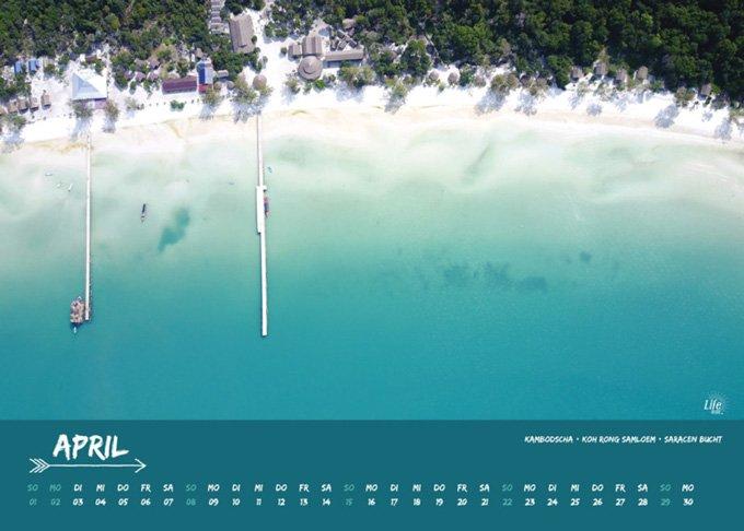 Life to go Jahreskalender 2018 im Weltreise Shop - Monat April