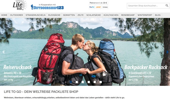 Life to go Weltreise Packliste Shop