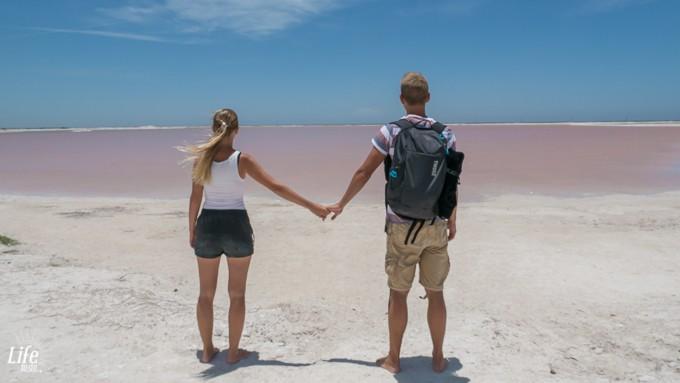 Ehepaar Pinker See Rio Lagartos Mexiko