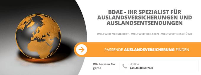 Weltreise Auslandskrankenversicherung inkl. Schwangerschaft - BDAE Expat Private für Digitale Nomaden