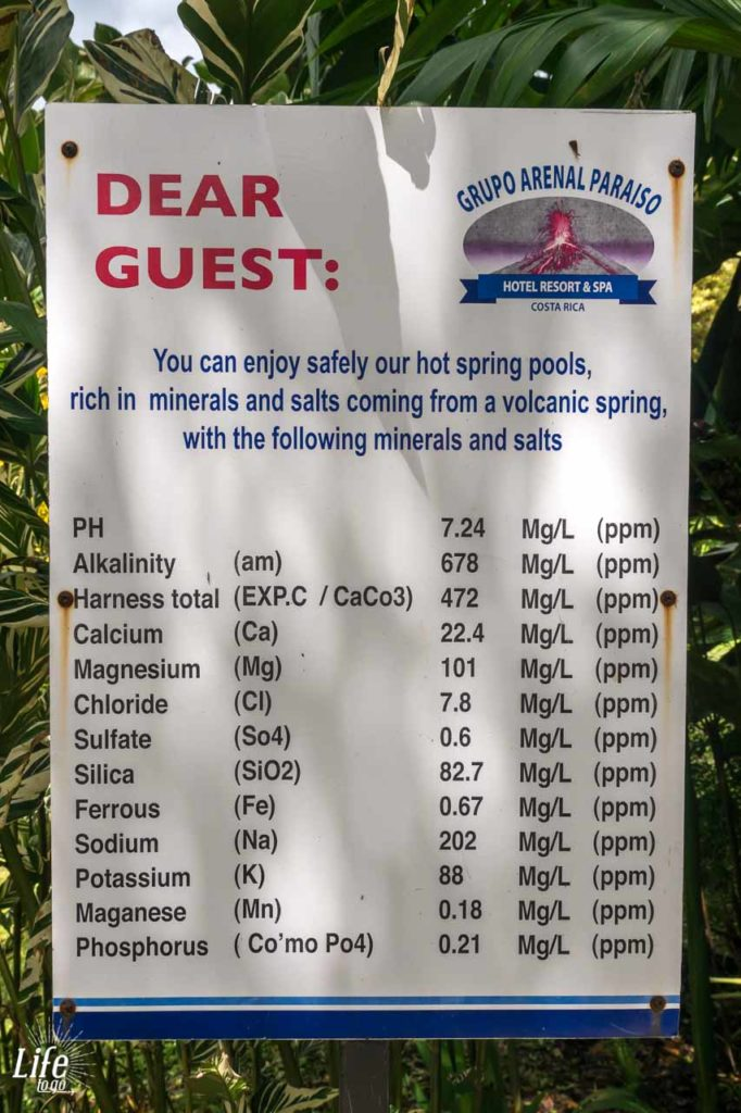 Heiße Quellen Arenal Paraiso Resort Infotafel