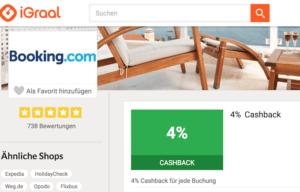 Booking.com Cashback und Geld sparen