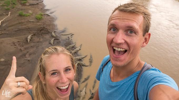 Selfie vor den Rio Tarcoles Krokodilen