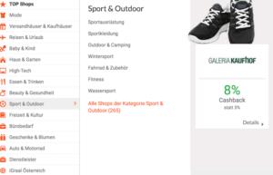 iGraal Cashback Sport und Outdoor