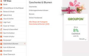 iGraal Cashback auf Geschenke und Blumen