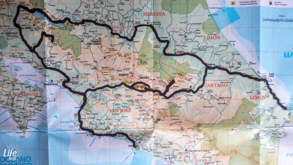 Costa Rica Rundreise Route und Karte