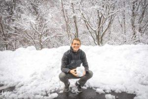 Im Schnee in Südkorea auf Jeju Island