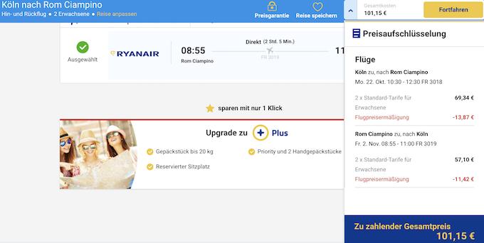 Ryanair Flug nach Rom
