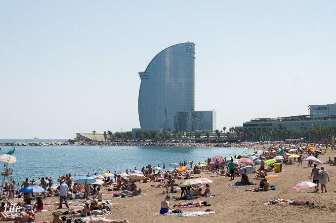 W Hotel Barcelona und Strand