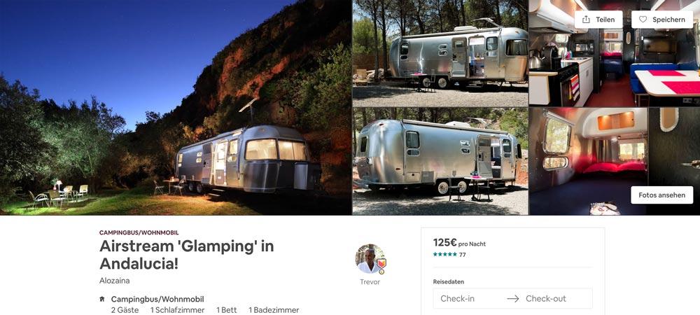 verrückte Airbnb Übernachtung im Airsteam Wohnwagen Spanien