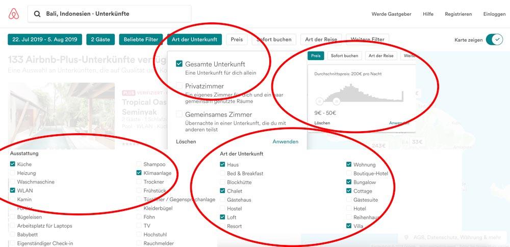Airbnb Filterauswahl um die beste Unterkunft zu finden