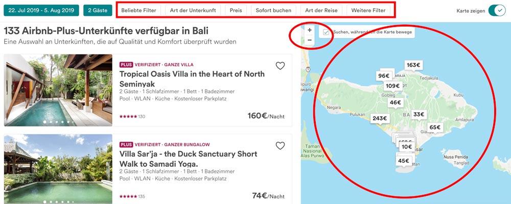 Airbnb Filter und Karte anwenden