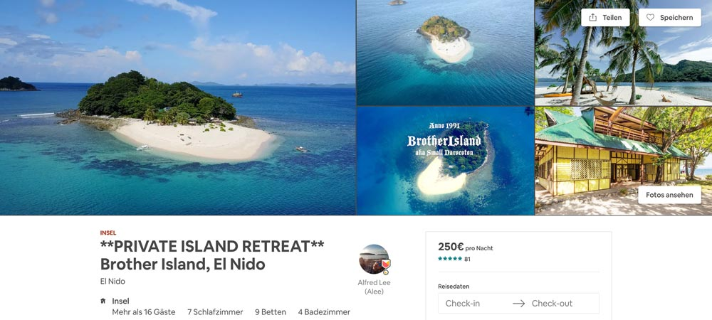 Airbnb Privatinsel Brother Island auf den Philippinen