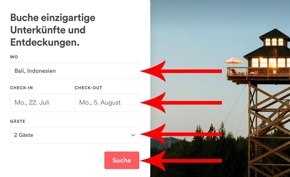 Airbnb Anleitung Suche nach der besten Unterkunft