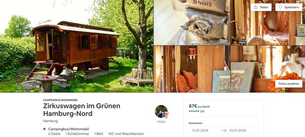 Zirkuswagen Airbnb Hamburg