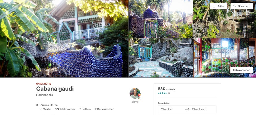 Cabana Gaudi einzigartige Airbnb Unterkunft in Brasilien