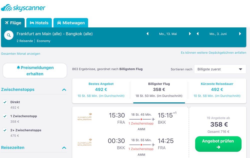 Finde die günstigsten Flüge nach Bangkok