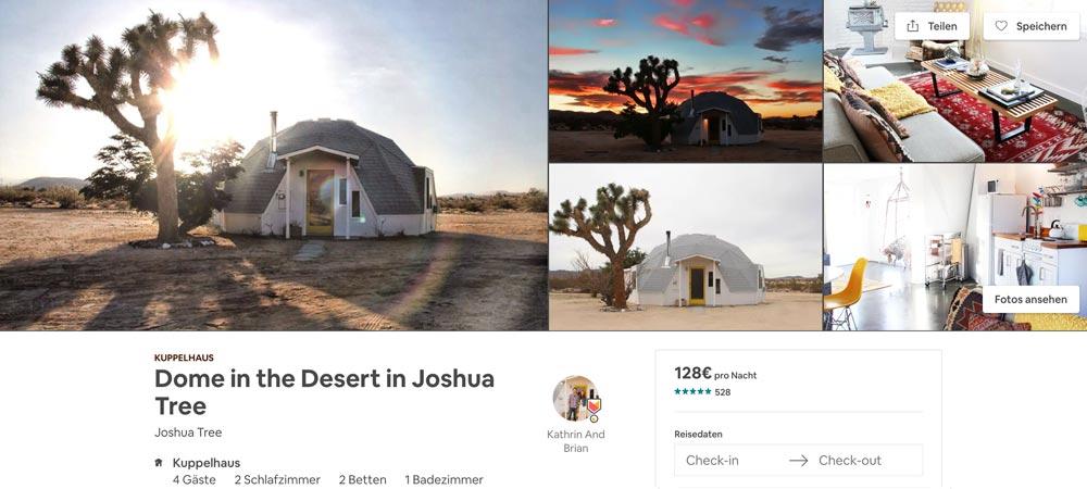 ausgefallene Dome Airbnb Unterkunft beim Joshua Tree Nationalpark