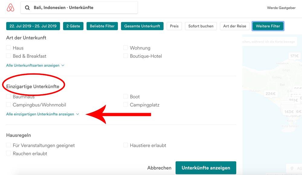 Anleitung einzigartige Airbnbs finden