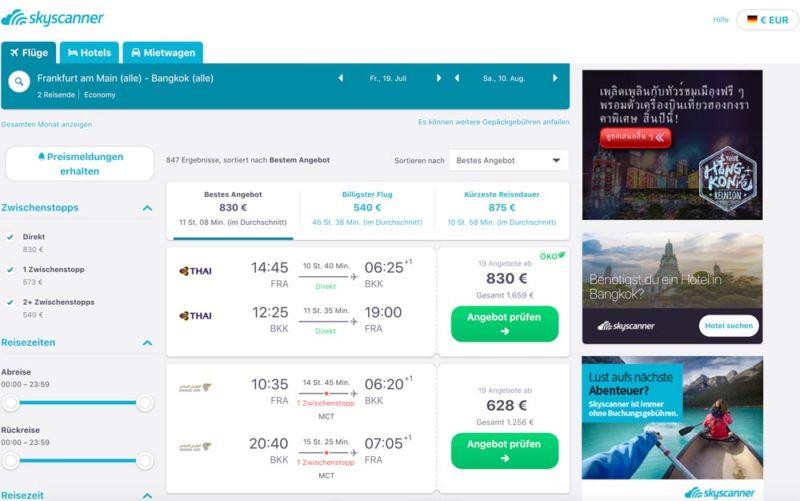 Flug Frankfurt nach Bangkok Sommerferien teuer