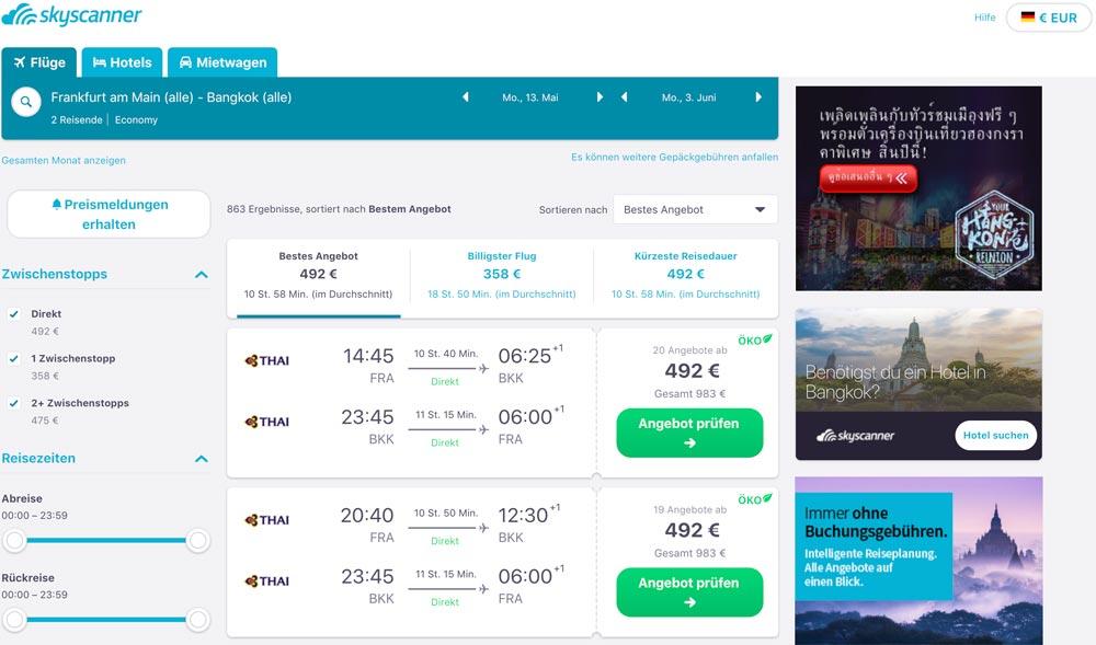 Frankfurt nach Bangkok vor den Sommerferien günstige Flüge