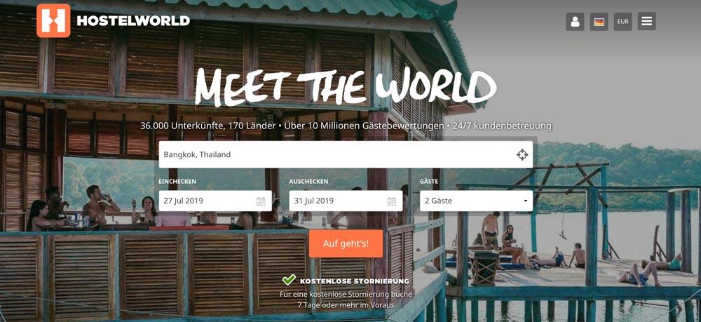Beste Unterkunft finden durch Suche auf Hostelworld
