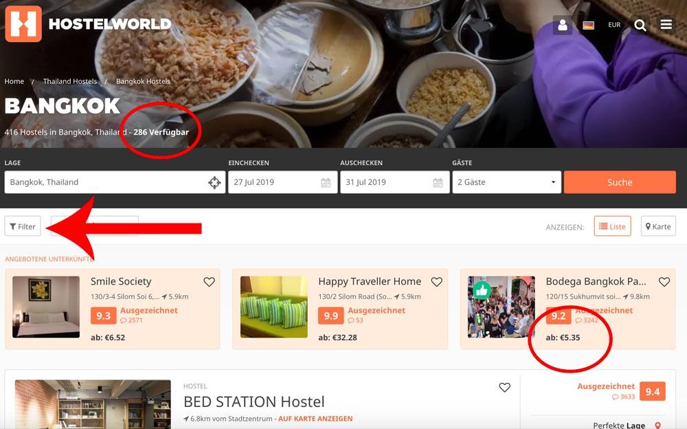 Hostelworld Suchergebnisse Bangkok