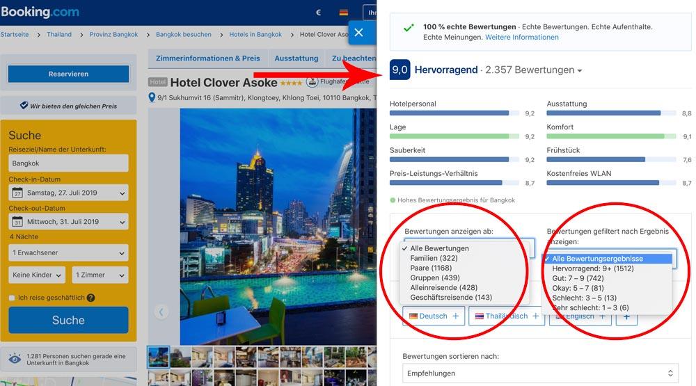 Hotel Bilder und Bewertungen als Entscheidungshilfe