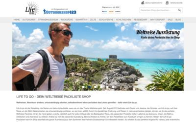 Life to go Weltreise Shop mit Weltreise Ausrüstung Startseite