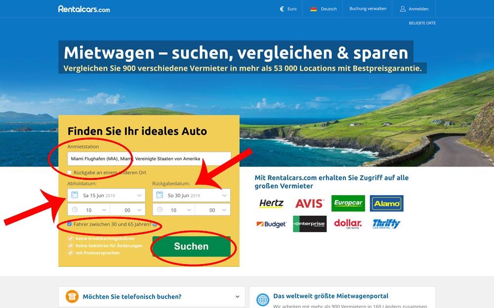 günstige Mietwagen Suche Anleitung