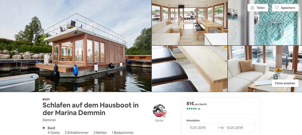 Airbnb Hausboot Wohnung Deutschland