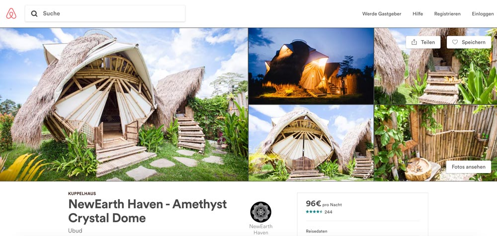 Airbnb NewEarth Haven ausgefallene Bali Unterkunft