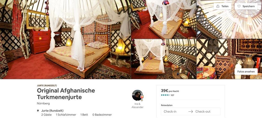 Afghanische Turkmenenjurte als Airbnb Unterkunft