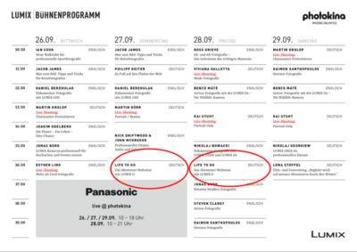 Panasonic Lumix Bühnenprogramm Photokina Köln