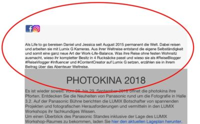 Life to go Vortrag Programm Panasonic Bühne Photokina